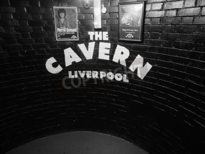 Carta da parati Liverpool, Regno Unito - intorno al giugno 2016: La discoteca Cavern Club a 10 Mathew Street, dove i Beatles giocato in bianco e nero