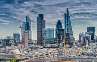 Carta da parati London City. Moderno skyline del quartiere degli affari