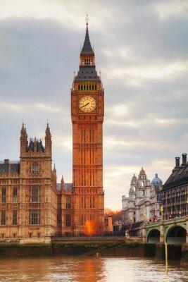 Carta da parati Londra con la Torre dell'Orologio e il Palazzo del Parlamento