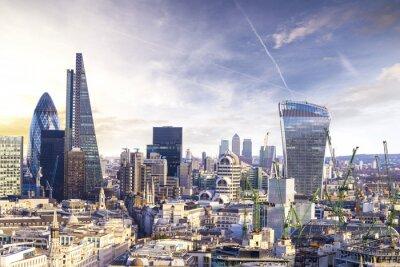 Carta da parati Londra tramonto, vista sul quartiere degli affari moderno