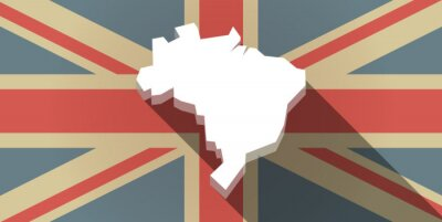 Carta da parati Long Shadow UK icona della bandiera con una mappa del Brasile