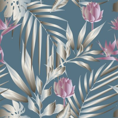 Carta da parati Lotus flowers surrounded by palm leaves seamless pattern. Vector illustration with tropical plants.