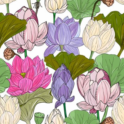 Carta da parati Lotus or water lilies seamless pattern. Elegant tropical floral background. For packaging, print, fabric, wallpaper, invitations.