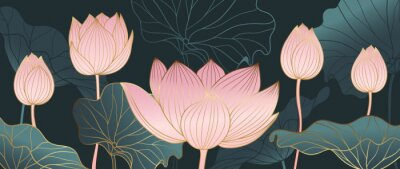 Carta da parati Luxurious background design with golden lotus. Lotus flowers line arts design for wallpaper, natural wall arts, banner, prints, invitation and packaging design. vector illustration.
