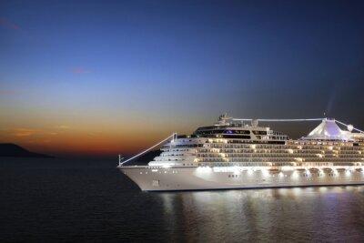Carta da parati Luxury cruise ship sailing to port on sunrise
