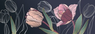Carta da parati Luxury pink tulips background vector with golden metallic decorate wall art