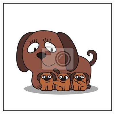 Madre e figlio cartone animato cane mamma e tre piccolo cucciolo