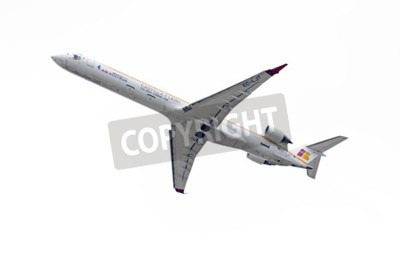 Carta da parati MADRID, SPAIN - MAY 3th 2015: Aircraft -Bombardier Canadair CRJ-1000-, of -Air Nostrum- airline, is taking off from Madrid-Barajas -Adolfo Suarez- airport, on May 3th 2015.