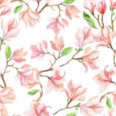 Carta da parati magnolia acquarello rami