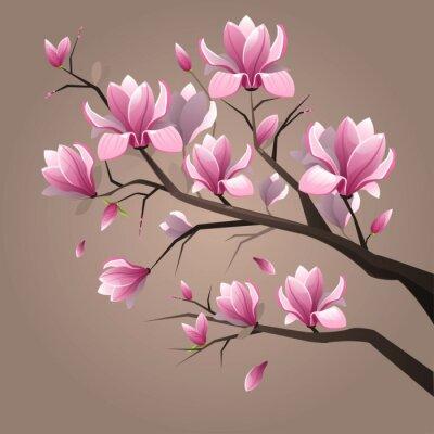 Carta da parati Magnolia Fiori rosa