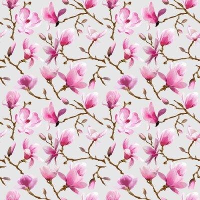 Carta da parati Magnolia Flowers Background - Vintage Seamless Pattern