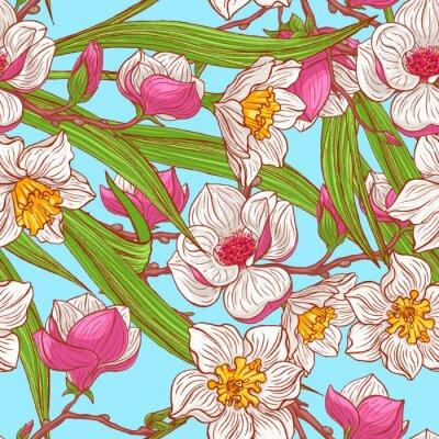 Carta da parati magnolie di colore e narcisi
