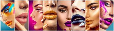 Carta da parati Makeup collage. Bellezza makeup artist idee. labbra colorate, gli occhi, ombretti e nail art