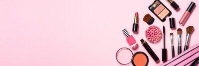 Carta da parati Makeup professional cosmetics on pink background.