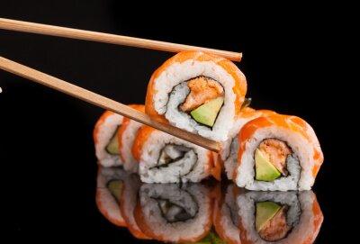 Carta da parati Maki sushi served on black background