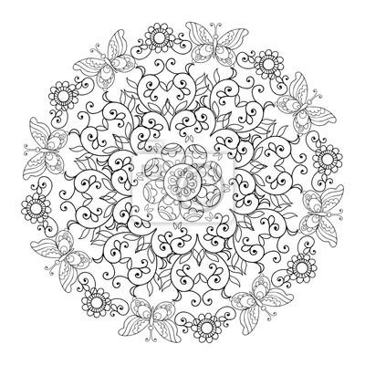Mandala Di Fiori E Farfalle Libro Da Colorare Per Adulti Carta Da