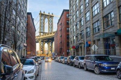 Carta da parati Manhattan Bridge da Brooklyn in un inverno Pomeriggio
