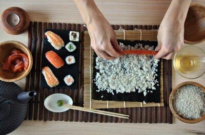 Carta da parati mani sushi cucina