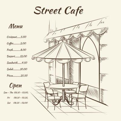 Carta da parati Mano disegnato strada cafè sfondo