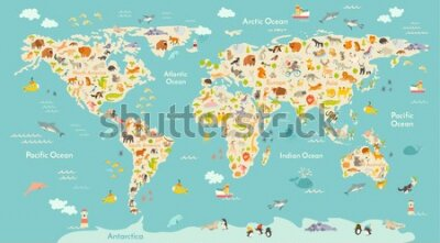 Carta da parati Map animal for kid. Continent of world, animated child's map. Vector illustration animals poster, drawn Earth. Continents and sea life. South America, Eurasia, North America, Africa and Australia