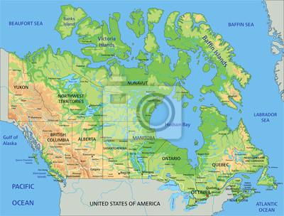Canada Cartina Fisica.Mappa Ad Alta Dettagliata Canada Fisico Con Letichettatura Carta Da Parati Carte Da Parati Prossimo Ottawa Mappatura Myloview It