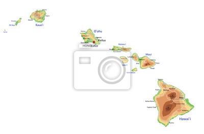 Cartina Mondo Hawaii.Mappa Ad Alta Dettagliata Hawaii Fisico Con Letichettatura Carta Da Parati Carte Da Parati Kauai Mappatura Elevazione Myloview It