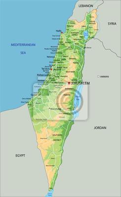 Cartina Politica Israele.Mappa Ad Alta Dettagliata Israele Fisico Con Letichettatura Carta Da Parati Carte Da Parati Israeliano O Gerusalemme Myloview It
