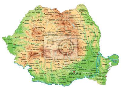 Romania Politica Cartina.Mappa Ad Alta Dettagliata Romania Fisico Con Letichettatura Carta Da Parati Carte Da Parati Bucarest Rumeno Mappatura Myloview It
