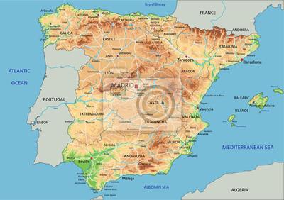 Cartina Spagna Politica E Fisica.Mappa Ad Alta Dettagliata Spagna Fisico Con Letichettatura Carta Da Parati Carte Da Parati Maiorca Siviglia Mappatura Myloview It