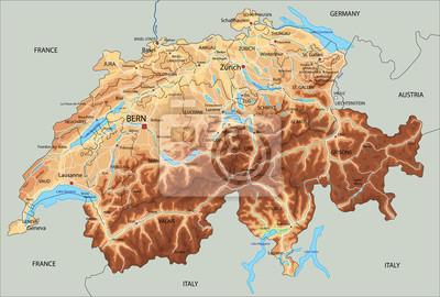 La Svizzera Cartina.Mappa Ad Alta Dettagliata Svizzera Fisico Con Letichettatura Carta Da Parati Carte Da Parati Basilea Ginevra Mappatura Myloview It
