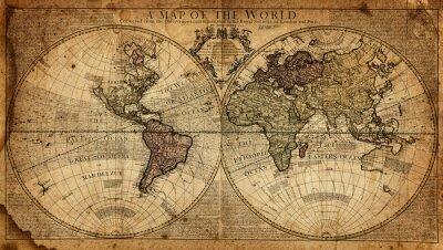 Carta da parati mappa d'epoca del mondo