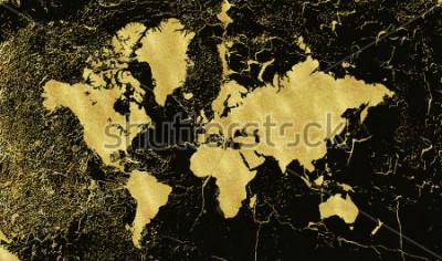 Carta da parati Mappa d'oro d'epoca su sfondo nero. Indossare texture, grunge, patina d'oro. Modello per carte, invito a nozze, poster, blog, sito Web e altro ancora