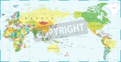 Carta da parati Mappa del mondo bianco blu, Asia nel centro vettoriale.