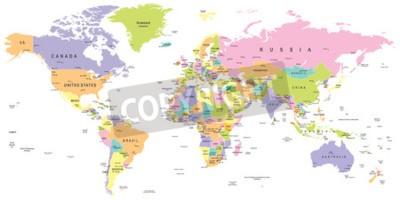 Carta da parati Mappa del mondo colorata - confini, paesi e città - illustrazione