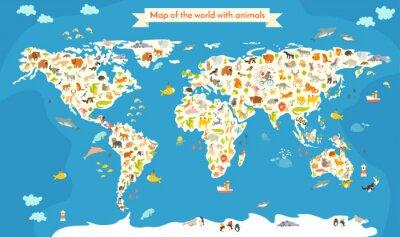 Carta da parati Mappa del Mondo con gli animali. Bella colorata illustrazione vettoriale. Prescolare, per il bambino, bambini, ragazzi e tutte le persone