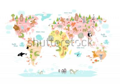 Carta da parati Mappa del mondo con gli animali dei cartoni animati per i bambini. Europa, Asia, Sud America, Nord America, Australia, Africa. Leone, coccodrillo, canguro. koala, balena, orso, elefante, sq