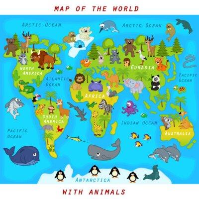Carta da parati mappa del mondo con gli animali - illustrazione vettoriale, eps