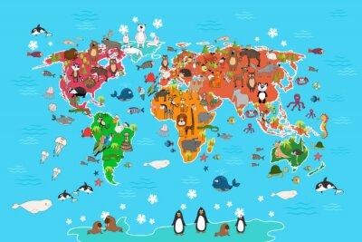 Carta da parati Mappa del mondo con gli animali. Scimmia e riccio, orso e canguro, lepre panda lupo e pinguino e pappagallo. Animali mappa del mondo illustrazione vettoriale in stile cartone animato