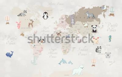 Carta da parati Mappa del mondo degli animali per il design della carta da parati per bambini
