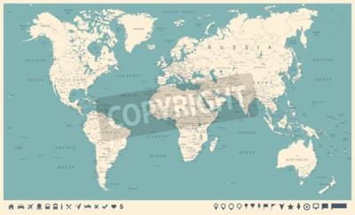 Carta da parati Mappa del mondo dell'annata ed indicatori - illustrazione dettagliata di vettore