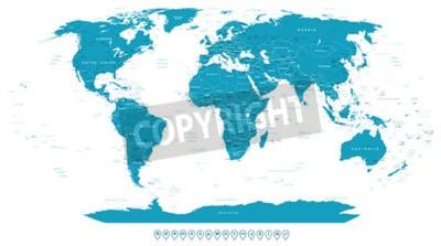 Carta da parati Mappa del mondo e icone di navigazione - illustrazione.