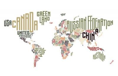 Carta da parati Mappa del mondo fatto di nomi di paese tipografici