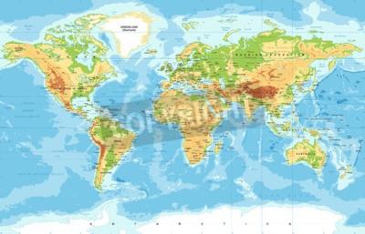 Carta da parati Mappa del mondo fisico vettoriale