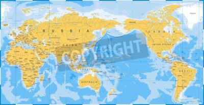 Carta da parati Mappa del mondo giallo blu, Asia nel vettore centrale.