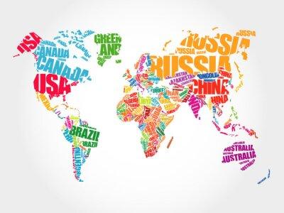 Carta da parati Mappa del mondo in nuvola concetto di parola Tipografia, nomi di paesi