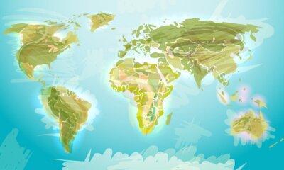 Carta da parati Mappa del mondo in stile grunge