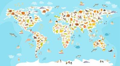 Carta da parati Mappa del mondo mammifero. Bella allegro illustrazione vettoriale colorato per bambini e ragazzi. Prescolare, bambino, continenti, oceani, disegnato, Terra