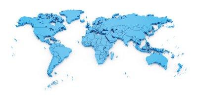 Carta da parati mappa del mondo Particolare con i confini nazionali, rendering 3d