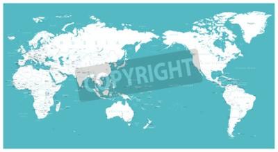 Carta da parati Mappa del mondo piatto Asia nel centro vettoriale.
