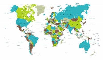 Carta da parati Mappa del Mondo Politico Blu Verde Grigio Vector
